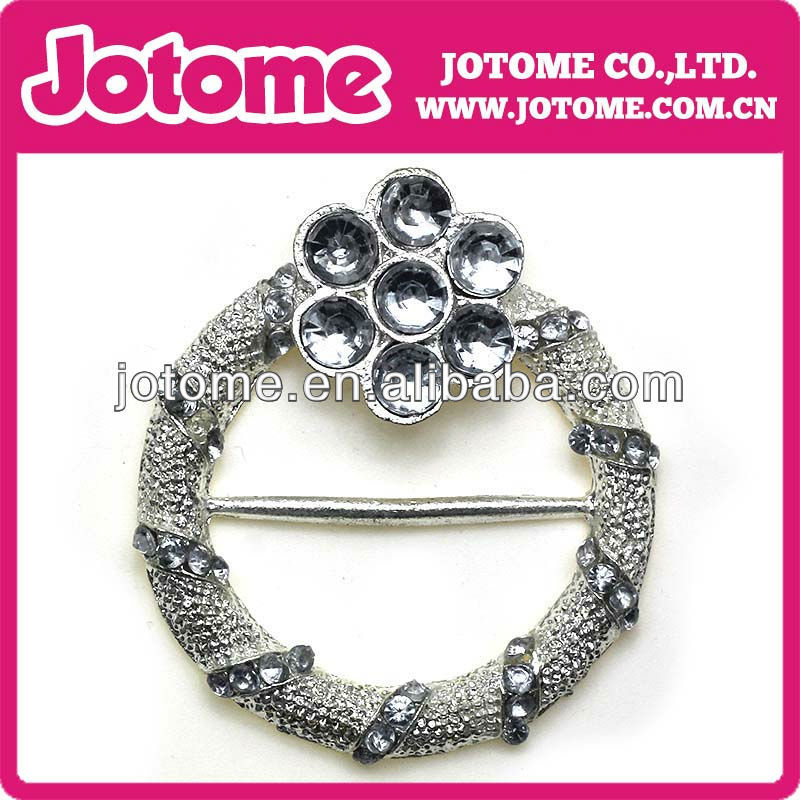 Selling silver round acrylic diamond buckle