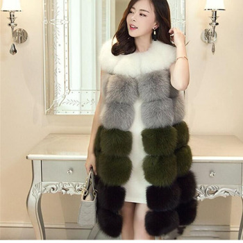 White Fox Fur Long Vest waistcoat&Gilet Black Gray White trench coat For Womens