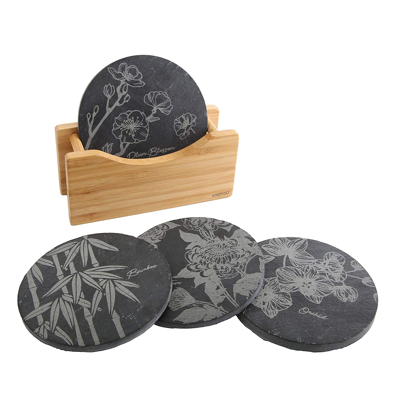 Vastigo Circle Shaped Slate Coasters in Bamboo Holder w/Flower Designs of Bamboo, Chrysanthemum, Plum Blossom, and Orchid