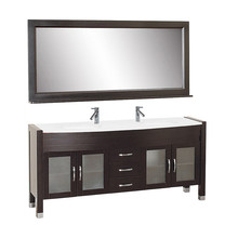 Double sinks bathroom furniture espresso finishing ash grey floor touched classical white solid wood bath vanity
