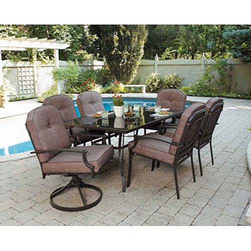 7 Piece Patio Dining Set Seats 6 Enjoy The Outdoors With This Furniture