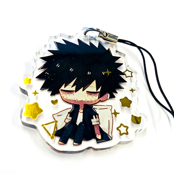 High quality 2019 VOGRACE cheap OEM custom acrylic keychain wholesale cartoon anime plastic epoxy printing charms gold foil