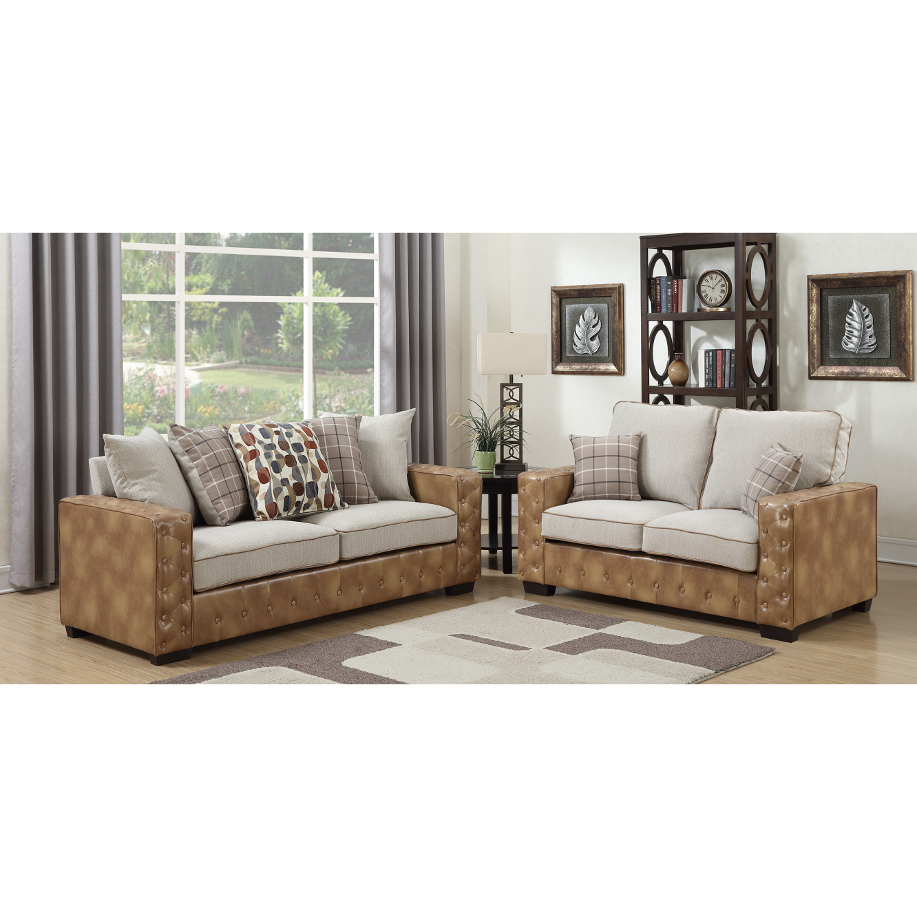Wood Frame Navy Furniture Couch