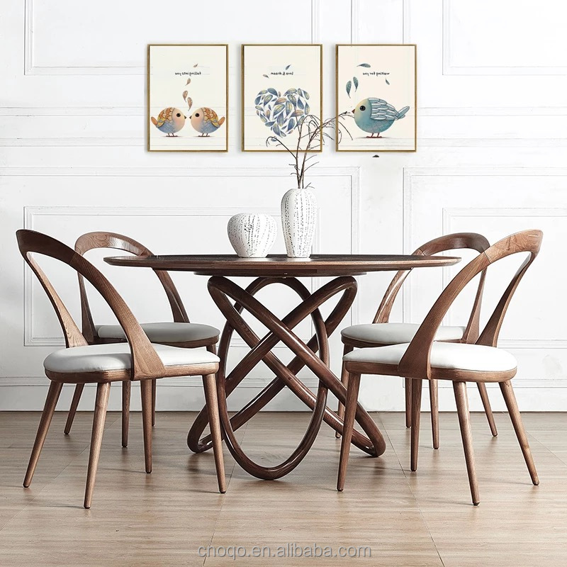 Round table High quality Ash wood dining table and <strong>chairs</strong> dining room furniture QF043