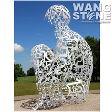 Large Outdoor Stainless Steel Abstract Figure Sculpture