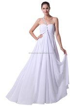 Hottest simple design affordable one shoulder white chiffon alibaba wedding dress for beach wedding