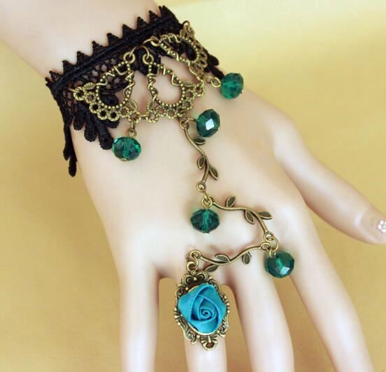 Funky Black Lace Metal Chain Bangle Green Crystal Flower Bracelet Ring Set