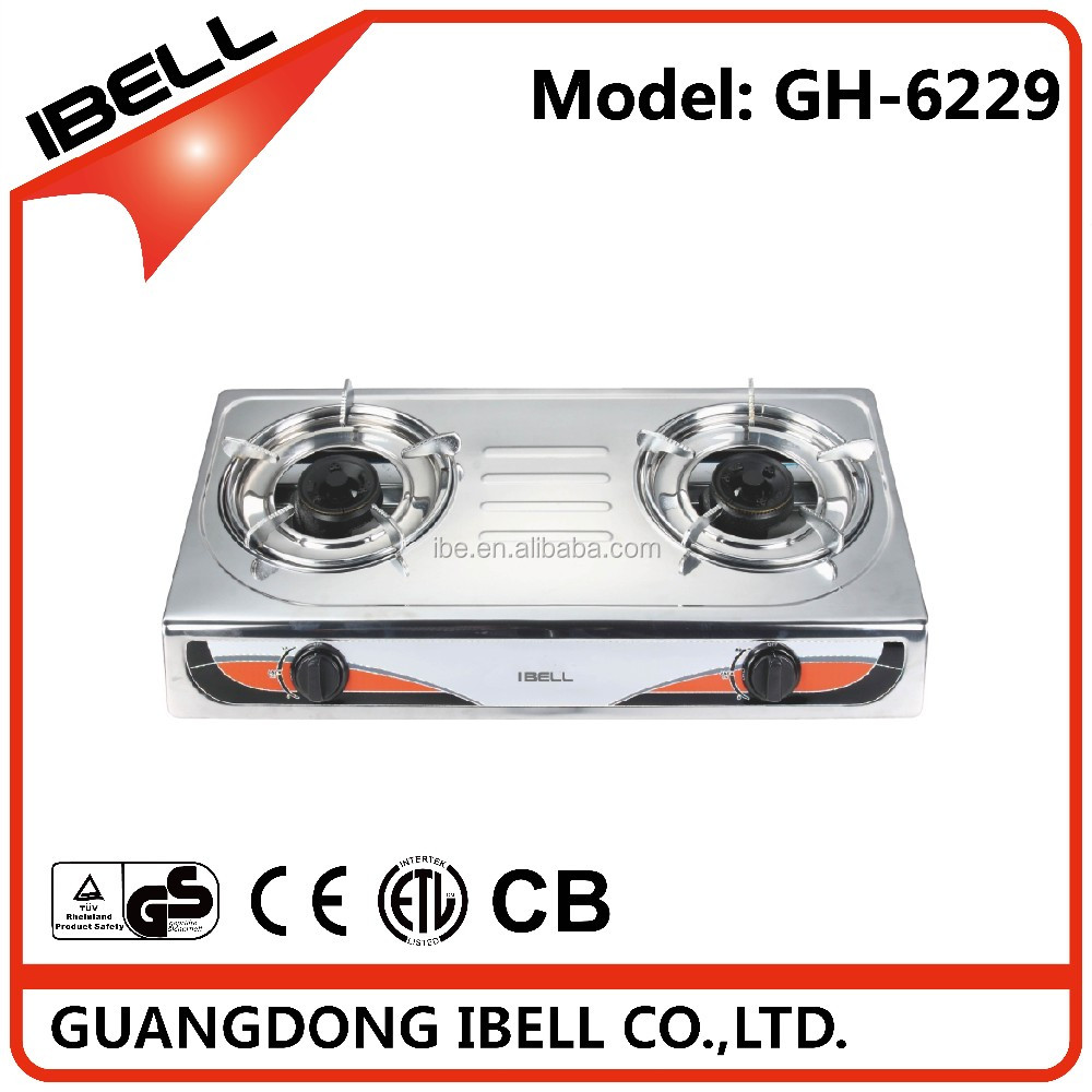 Hot selling 2 burners stainless steel cooktop gas stove for happy cooking