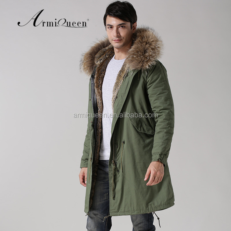 2017 winter mens military style green faux fur lining jacket brand long style raccoon fur hooded parka factory price, Picture and customized