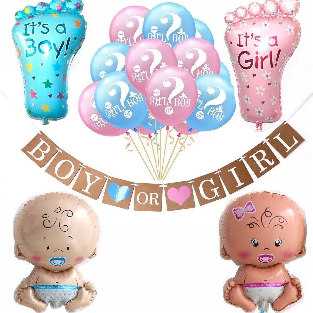 JETTINGBUY Boy or Girl Banner and Gender Reveal Balloons,Boy Girl Baby Shower Foil Giant Christening Balloons Decoration Kids for Baby Shower Gender Reveal Party Pregnancy Announcement