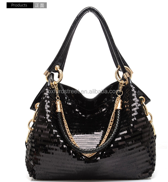 Fashion sequin cheap PU chian leather lady handbag