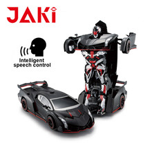Sound control wireless remote control toy stunt robot car, rc car robot for kids toy