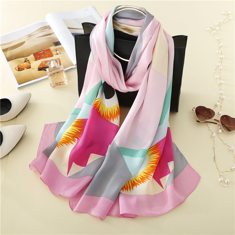 KTFL8067 fashionable women high quality 180*65cm 100% real summer sunscreen silk <strong>scarf</strong>