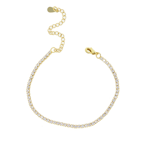 high quality gold plated fashion jewelry trendy women design thin cz tennis bracelet