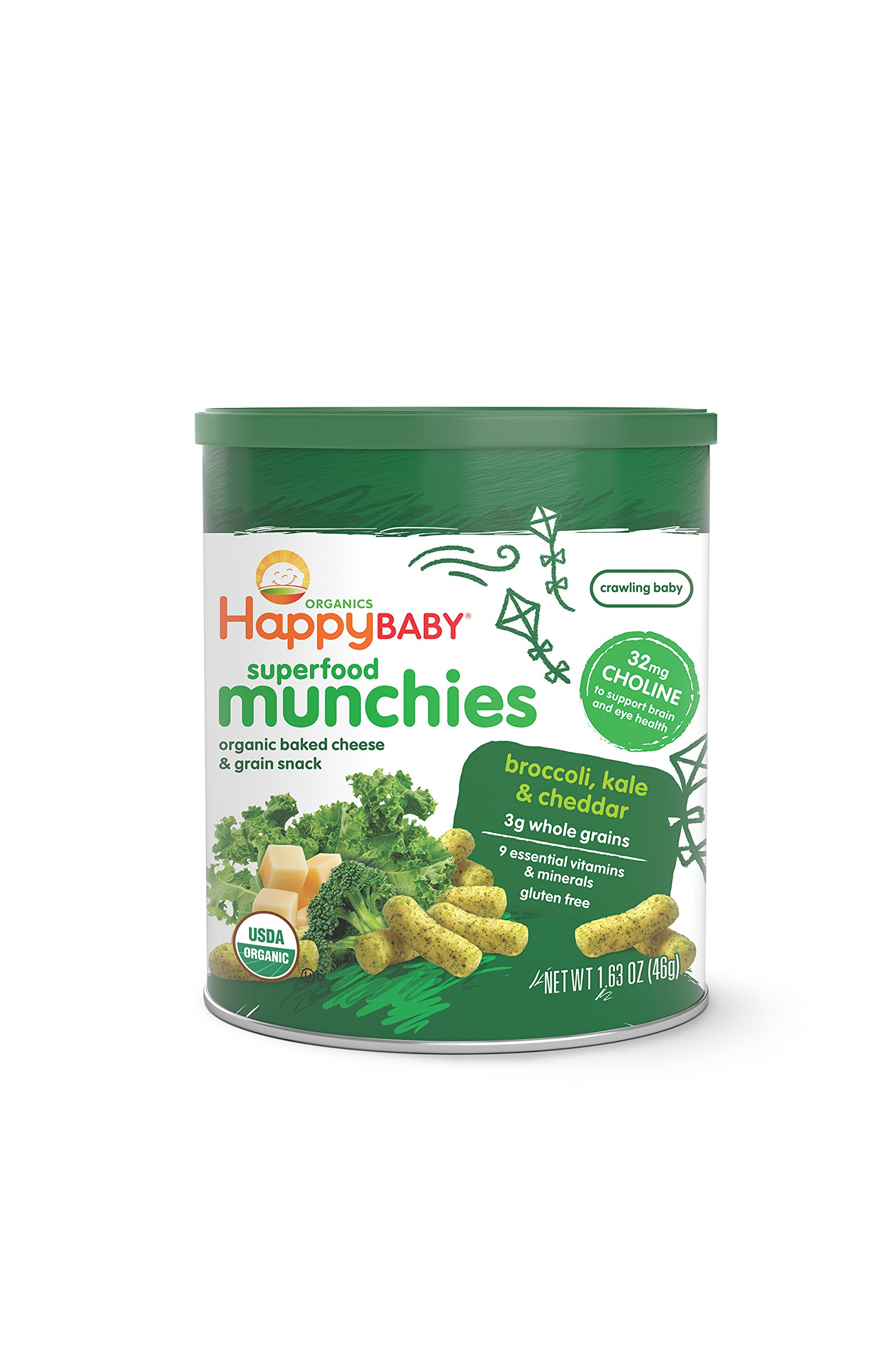 Happy Baby Organic Superfood Munchies Baked Cheese & Grain Snacks Broccoli Kale & Cheddar Cheese 1.63 Ounce (Pack of 6) Organic, Non-GMO, BPA-Free Packaging