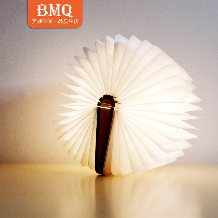 Waterproof DuPont paper folding wooden mini book lamp LED lumio book shaped table lamp led book light