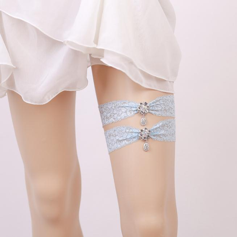 Blue Bridal Lace Garter Set With Diamond Keepsake Toss Tradition Vintage