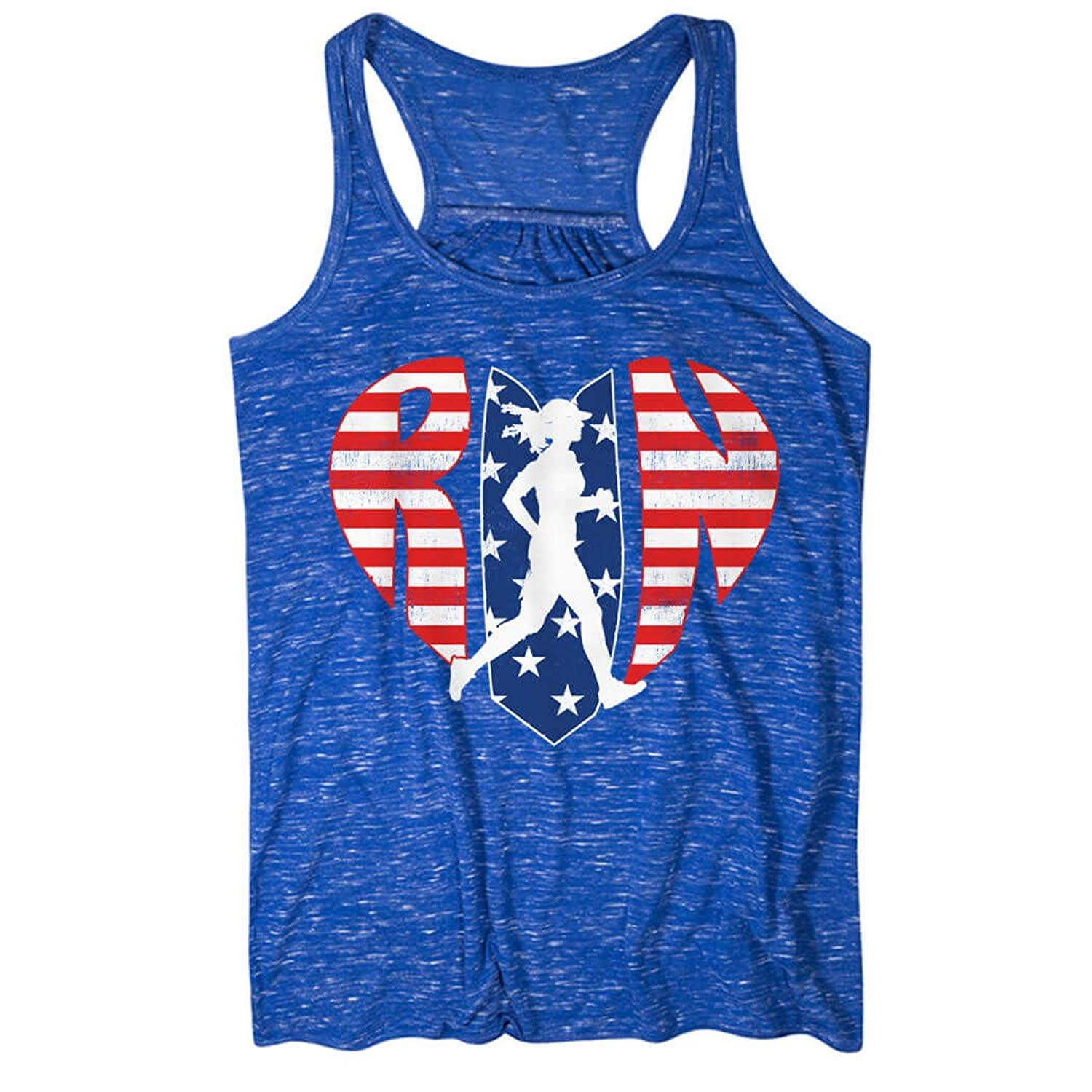 a0690a977932a0 Get Quotations · Gone For a Run Love-The-Run-Patriotic Flowy Racerback Tank  Top