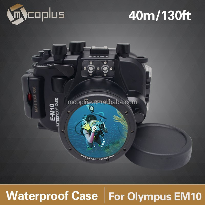 Mcoplus Up To 40 Meters(130ft) Underwater Case Camera Housing Diving Bag For Olympus E-M10 EM10 14mm- 42mm Lens IPX8