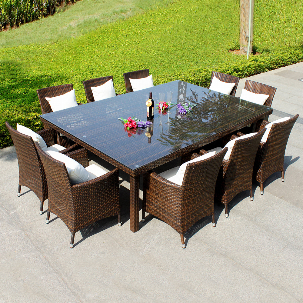 Annabelle outdoor garden furniture all weather wicker rattan 10 seater dining furniture table chairs