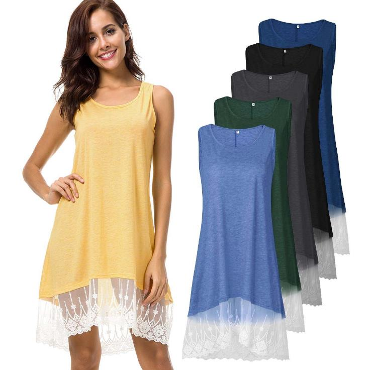 New Arrival Casual Apparel Women Plain Sleeveless Lace Binding O neck Dress