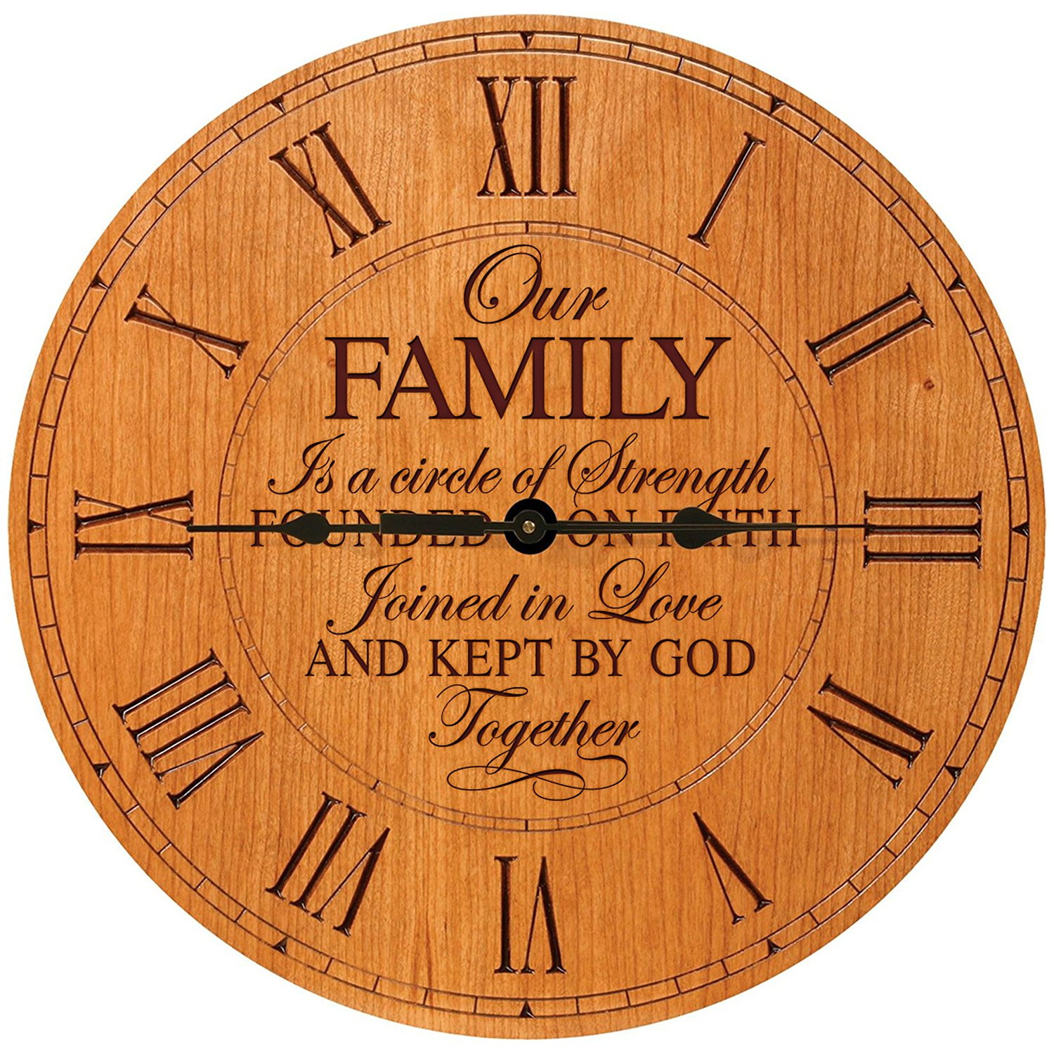 """Wedding Anniversary Gifts for parents Modern Decorative Wall Clocks Housewarming Anniversary Gift ideas for Couple Our Family is a circle of Strength 12""""x12"""" By Dayspring Milestones (Roman Cherry)"""