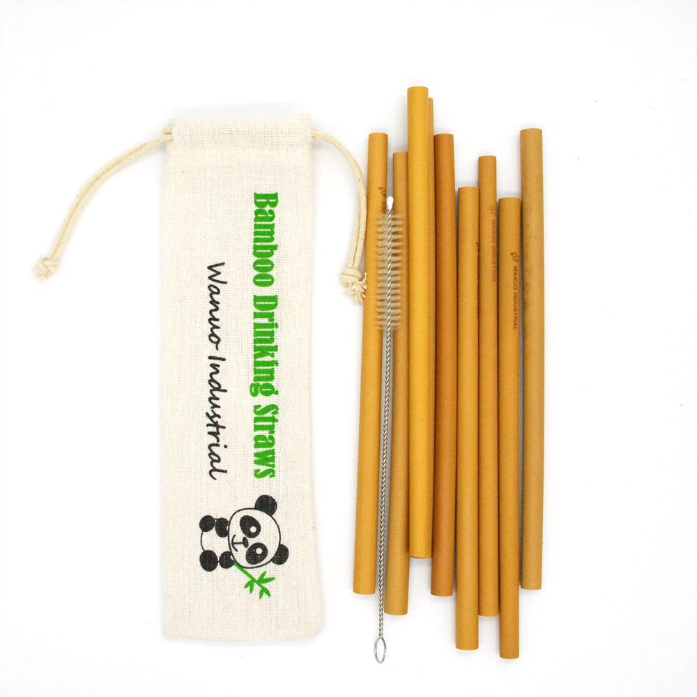 Alibaba.com / WanuoCraft Organic Reusable Biodegradable Natural Eco Bamboo Drinking Straws With a Set Of 10Pcs