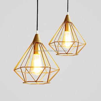 Industrial chandelier pendant light retro ceiling lamp with gold industrial chandelier pendant light retro ceiling lamp with gold metal cage mozeypictures Gallery