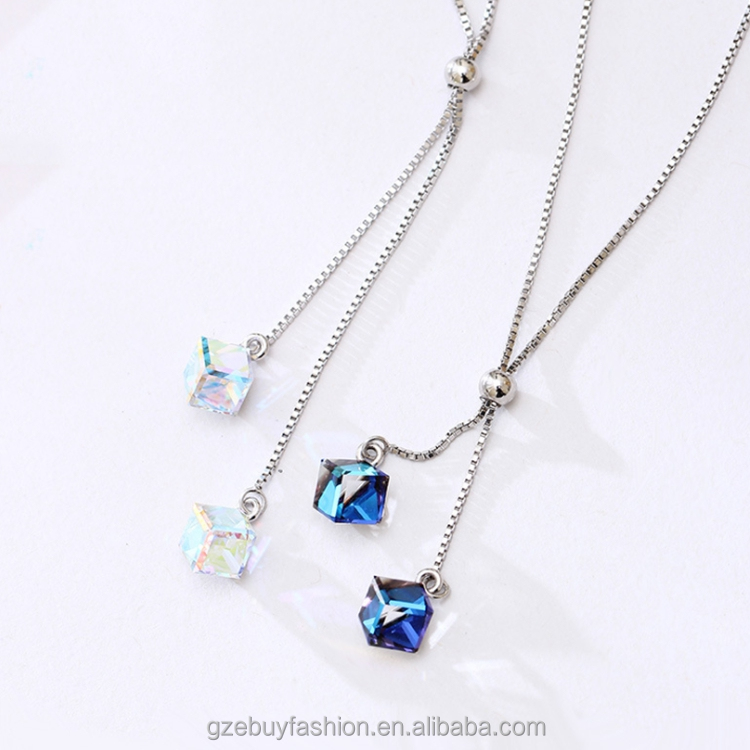 Cube Jewelry Colorful Pendant Necklaces 925 Sterling Silver Charm nacklaces Ladies