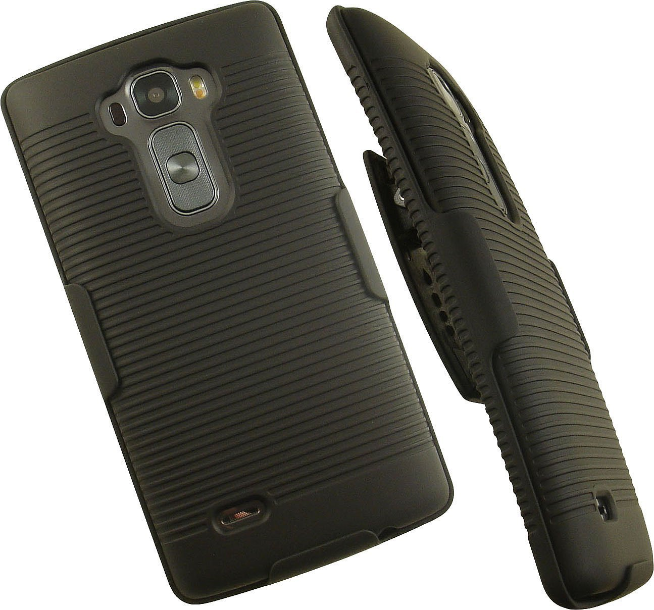 NAKEDCELLPHONE'S BLACK RIBBED RUBBERIZED HARD SHELL CASE COVER + BELT CLIP HOLSTER STAND FOR LG G FLEX-2 PHONE (SPRINT, AT&T, US CELLULAR) (LG H950, H955, H959, US995, F510, LS996. GFlex-2)
