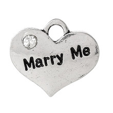 "Charm Pendants Heart Antique Silver Message ""Marry Me"" Carved Clear Rhinestone"