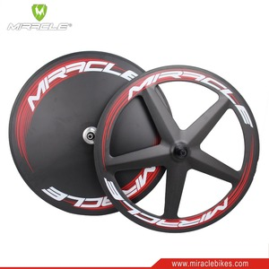 Triathlon disc wheel cover bicycle 3K weave carbon wheels matte double wall carbon tubular wheelsets Toray T700 bike wheels