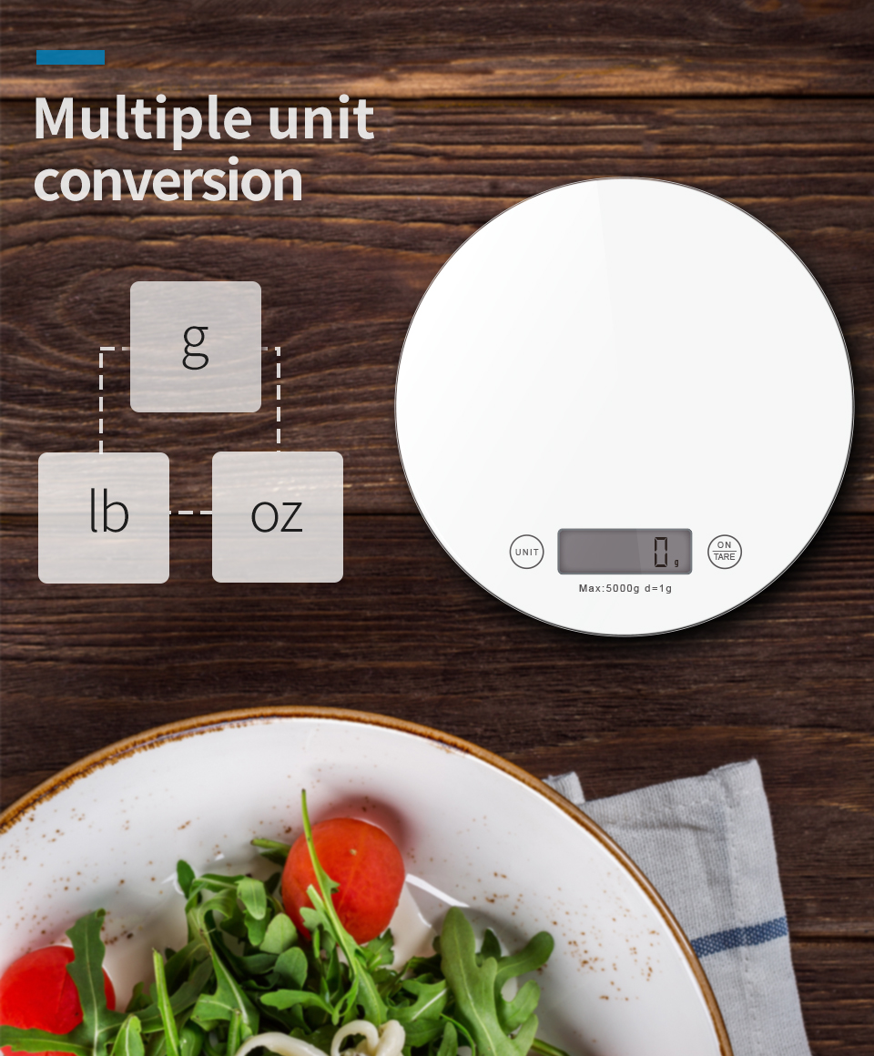 Best Gift Item 7kg/1g Touch Screen Household Electronic Tempered Glass Digital Electronic Multifunction Kitchen Food Scale