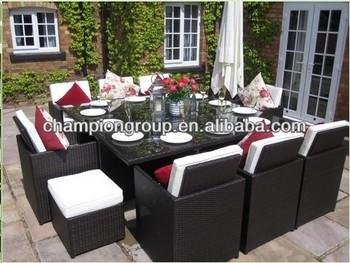 Großen Braunen Luxus Deluxe Würfel Terrasse 12 Sitz Esszimmer Rattan