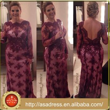 Abs 020 Plus Size Wedding Mother Dress Purple Long Sleeve Low Back