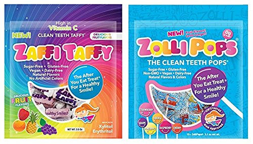 Zaffi Taffy & Zolli Pops, The Clean Teeth Candy, Sugar Free, Assorted Fruit Flavors, Approx 30 Candies Total