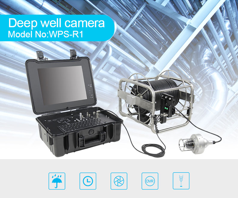 Stainless steel wheel deep well inspection camera underwater hot sale