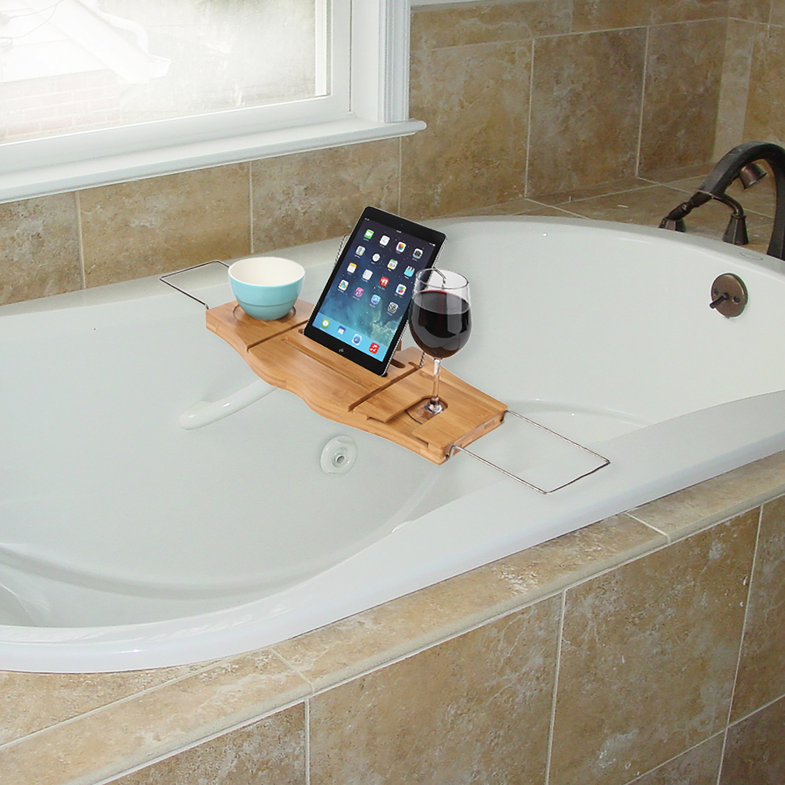 made bathtub tidy expanding tray kitchen smart white stuff bath plus shelf