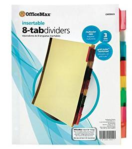 OfficeMax Insertable Tab Dividers, Tabs Cannot be Printed On, 8-Tab, Buff paper, Multicolor tabs