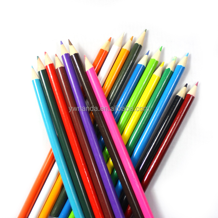 Round rod stationary kids child 18 colors wooden painting drawing colored pencils
