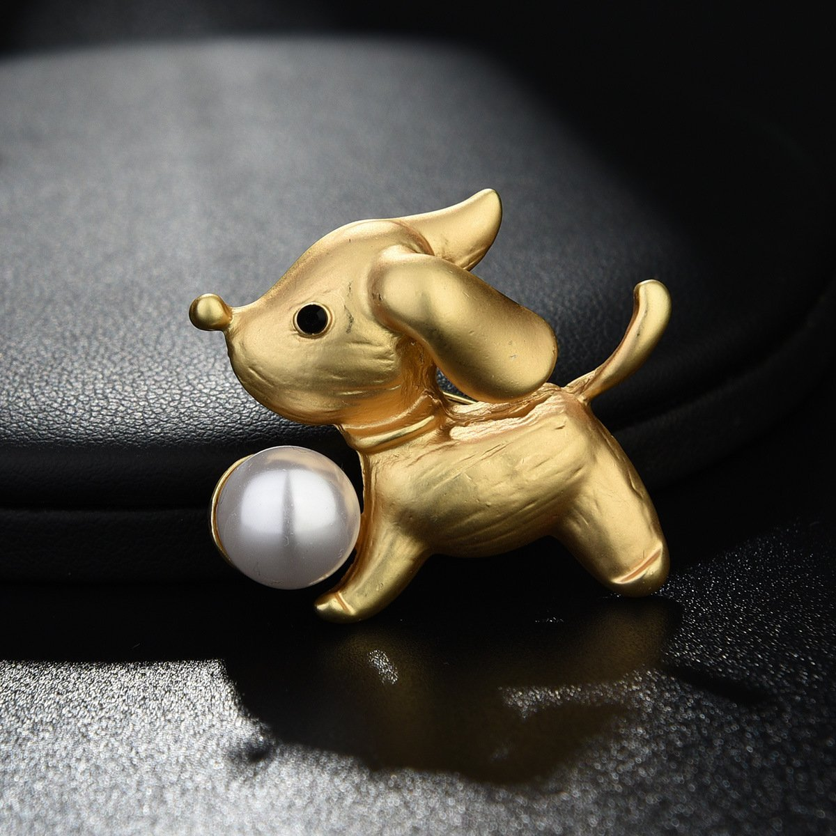Get Quotations Kercisbeauty Year Of Dog Cute Gold Brooch Pin With Pearl Delicate Collar Badge Perfect Gift