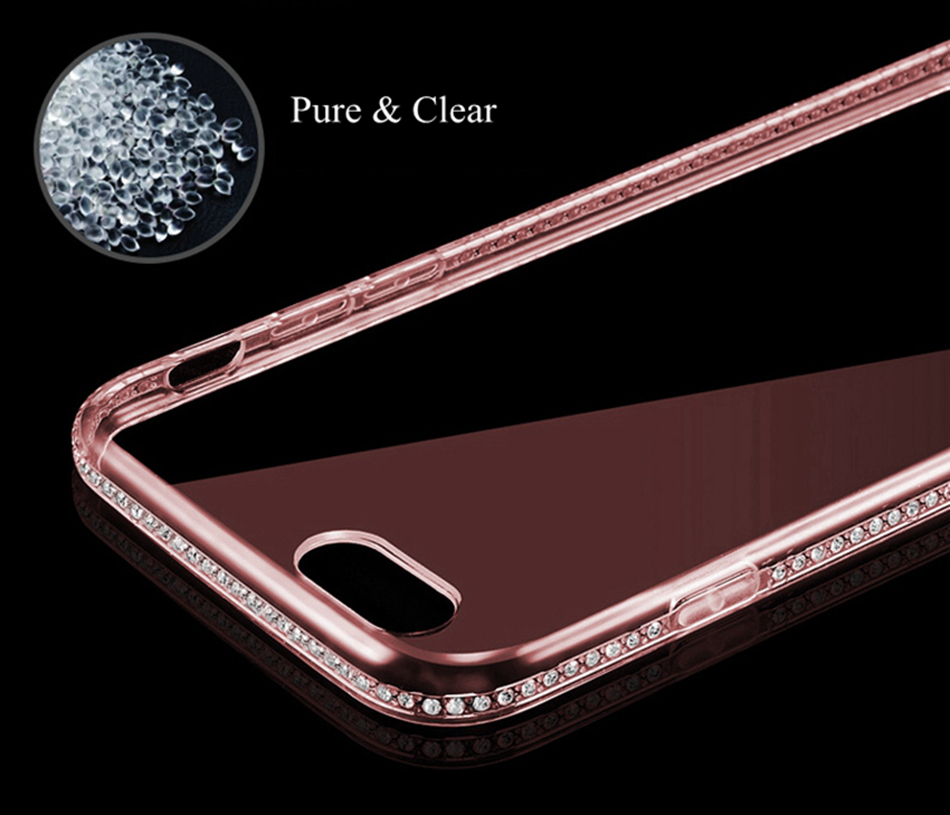 Free Ship Glitter Bling Rhinestone for iphone 7 Case Clear Soft TPU Transparent Silicone i phone7 Case for iphone 7 plus Cover