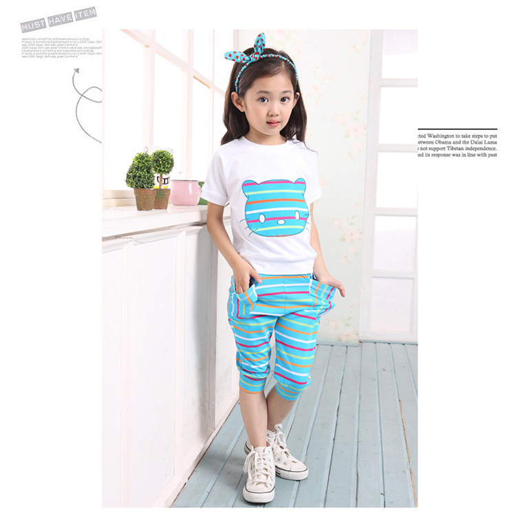 Fashion Summer baby girl clothing sets girls sportswear tracksuit sets Cat Loose Cotton casual kids clothes