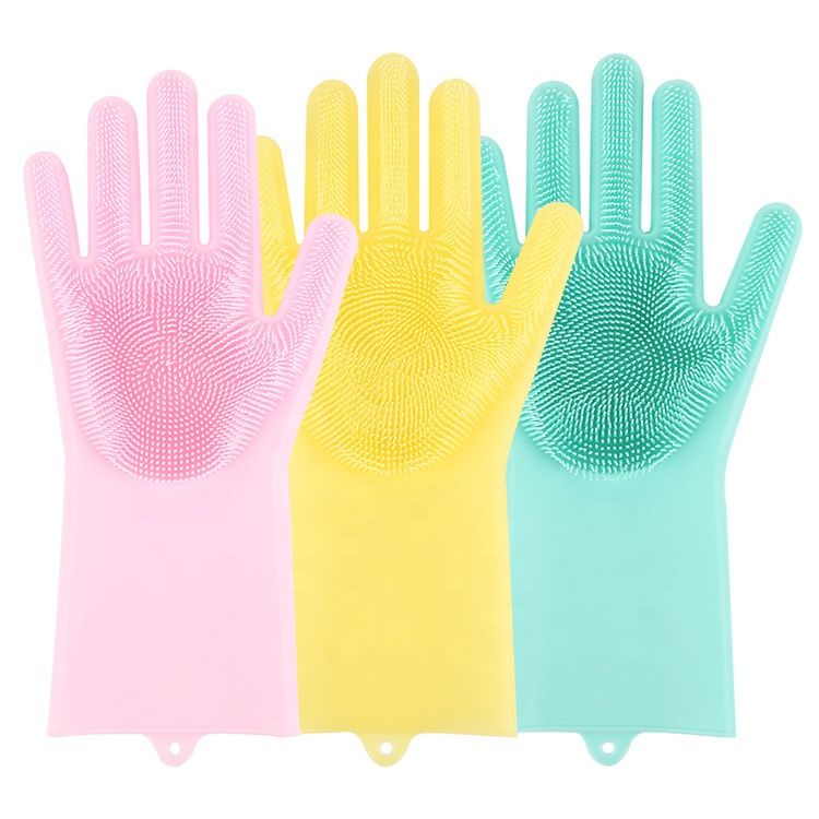 Silicone Dishwashing Brush Glove Kitchen Magic Cleaning Gloves, Customized