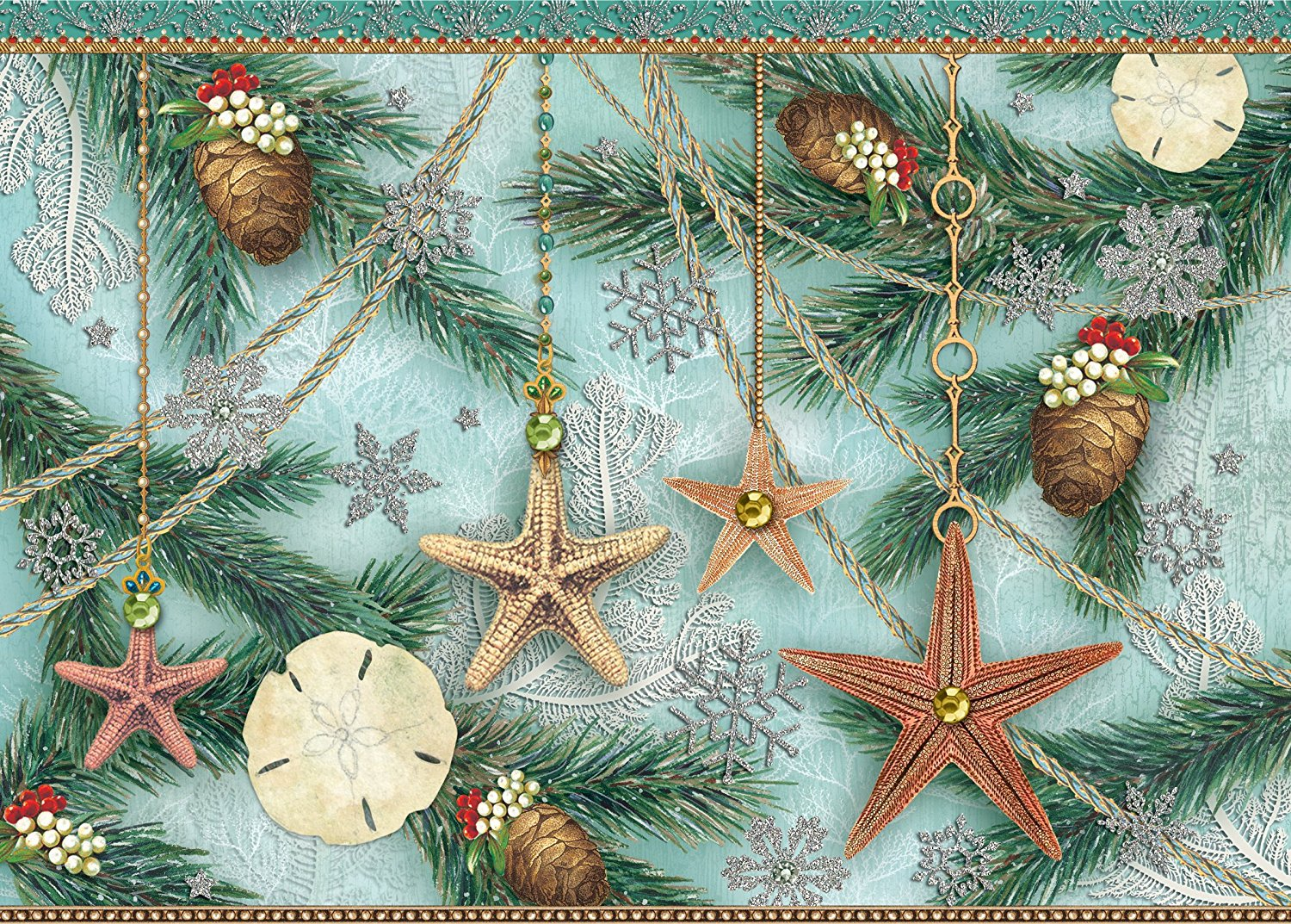 punch studio christmas greeting cards sparkles starfish with gems and glitter embellishment set of
