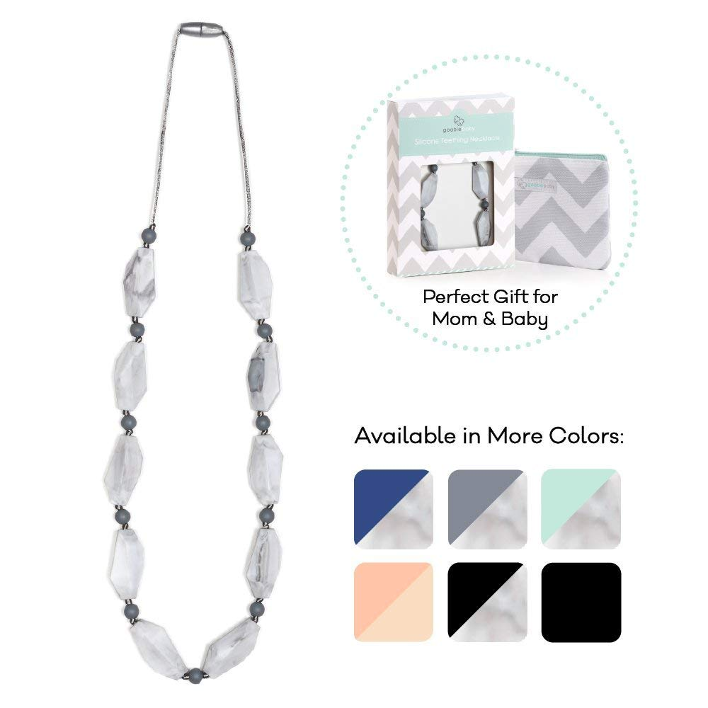 Goobie Baby Naomi Silicone Teething Necklace for Mom to Wear, Safe BPA Free Beads to Chew