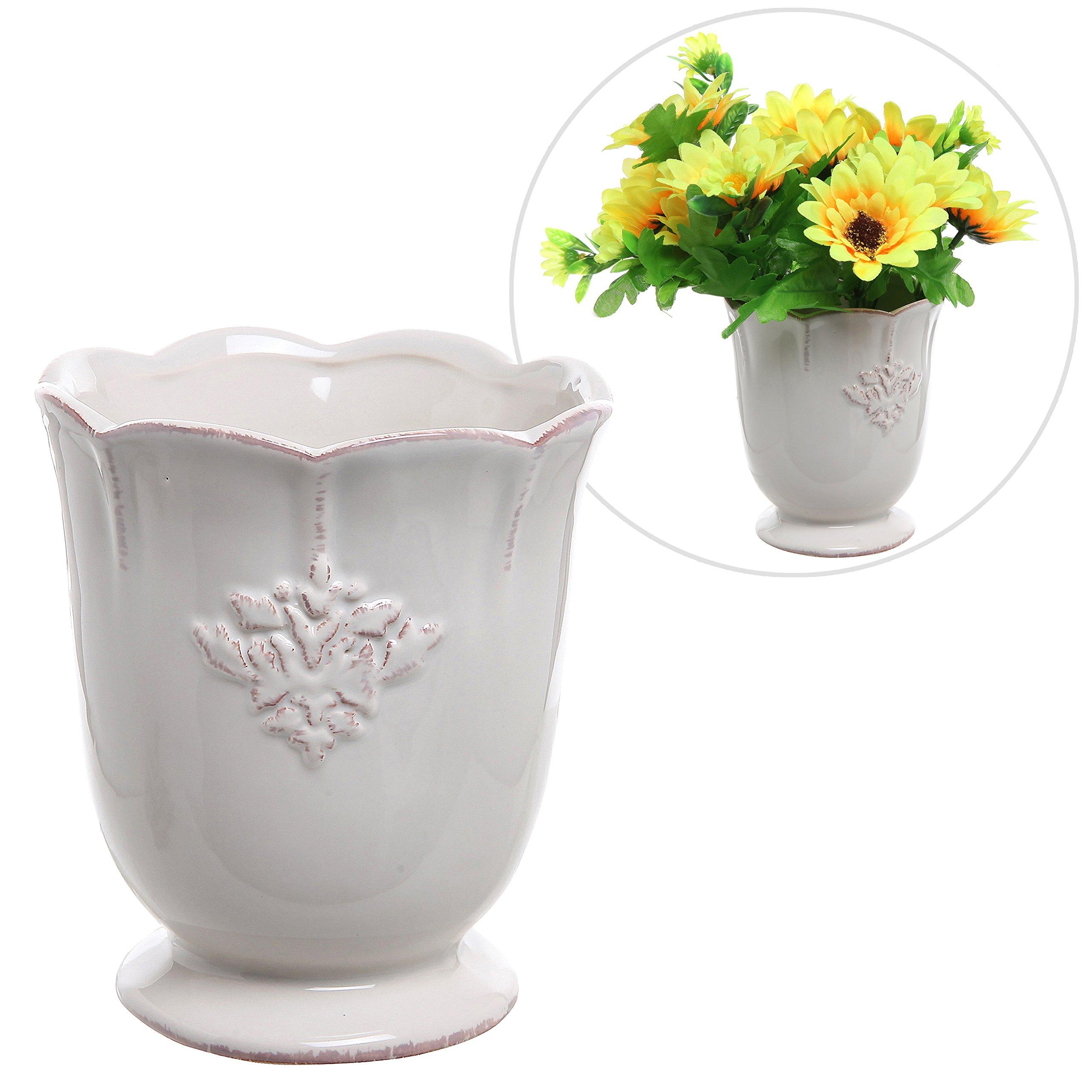 Buy french country design off white ceramic small decorative vase french country design off white ceramic small decorative vase succulent plant flower planter pot izmirmasajfo
