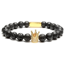Mens Pure Black Volcanic Stone High Quality Bead Bracelet