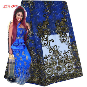 Royal Blue Textile Nigeria Swiss Lace Fabric New 2016 Guangzhou Tulle Lace with Beads And Stones BD608-1