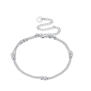 Classic Simple Ankle Jewelry Copper Alloy Sterling Silver Plated High Polished Bead Chain 2 String Station Anklets for Girls